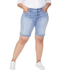 plus size women's nydj briella roll cuff denim bermuda shorts