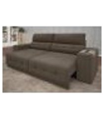 sofá abruzzo 2,50m assento retrátil e reclinável velosuede marrom- netsofas