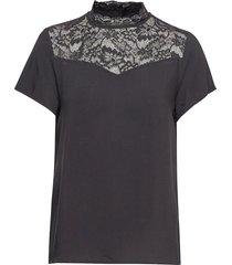 onlfirst life ss lace top noos wvn t-shirts & tops short-sleeved svart only