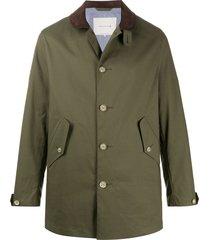 mackintosh bloomsbury button-front coat - green
