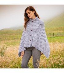 soft grey tullagh aran poncho - small/medium