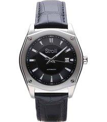 orologio automatico con cinturino in pelle nero e cassa in acciaio per uomo