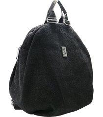 mochila negra leblu metalizada