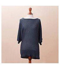 cotton blend pullover, 'open elegance in azure' (peru)