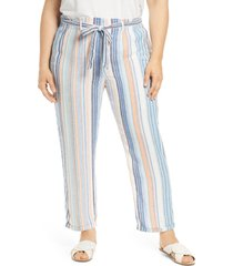 plus size women's caslon stripe tie belted linen blend pants