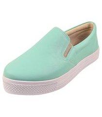 tênis casual calce fácil rosa chic calçados sapatênis iate napa verde menta