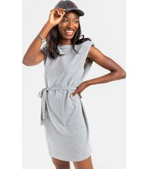 criss shoulder pad front tie mini dress - heather gray