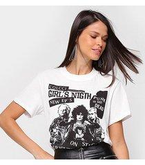 camiseta colcci punk's not dead feminina - feminino