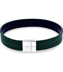reversible sterling silver & embossed herringbone leather bracelet