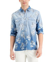 inc men's regular-fit ombre floral-print denim shirt, created for macy's