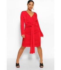 soepelvallende dunne jurk met textuur, rood