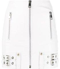 manokhi buckle-detail biker skirt - white