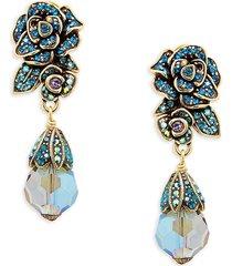 heidi daus women's goldplated & crystal flower drop earrings