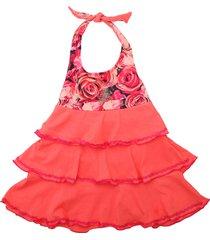 vestido multicolor cante pido volados rosas