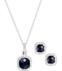 """sapphire (3 ct. t.w.) & diamond accent sterling silver 18"""" pendant necklace and stud earrings set (also in blue topaz & amethyst)"""