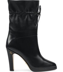 gucci drawstring-tie ankle boots - black