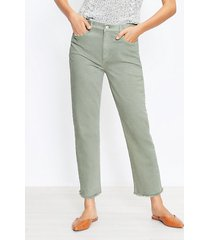 loft petite frayed high rise straight crop jeans in soft moss