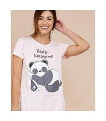 camisola feminina estampa panda listrada manga curta marisa - 10040763514