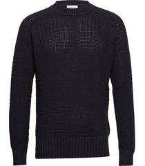 kevin sweater gebreide trui met ronde kraag blauw wood wood