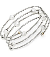 classique 1.6mm white round freshwater pearl, 18k white gold & stainless steel bracelet