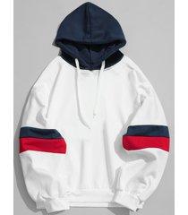 casual splicing color block hoodie