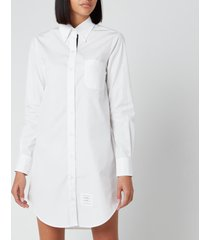 thom browne women's classic long sleeve button down shirt dress - white - it 42/uk 10