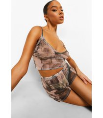 mesh hemdje en shorts pyjama set met opdruk, nude