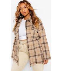 plus tonal flannel oversized boyfriend shirt, camel