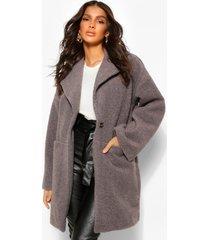 luxe getextuurde nepwollen jas, grijs