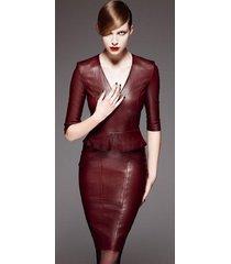 women celeb style haute couture premium cocktail party women leather dress-gn09