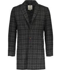 lindbergh checked wool coat grey check
