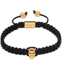 northskull designer men's bracelets, atticus skull macramé bracelet in black and yellow gold