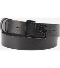 dolce & gabbana leather belt with crossed dg logo