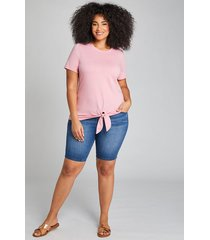 lane bryant women's deluxe fit high-rise denim bermuda short - medium wash 22 medium denim