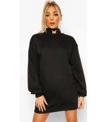 geborduurde sweatshirt jurk met hoge kraag en vlinder, black