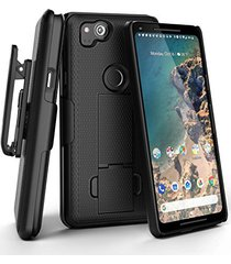 google pixel 2 belt clip case, encased (duraclip) slim fit holster shell combo (