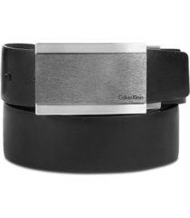 calvin klein men's plaque buckle reversible leather belt