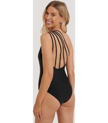 na-kd swimwear baddräkt med en axel - black