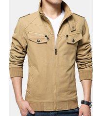 giacca in cotone da uomo casual autunno militare in tinta unita