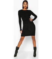 belted waist knitted mini dress, black
