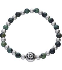 bracciale elastico pietre verdi, grigie e blu con dettaglio timone acciaio per uomo