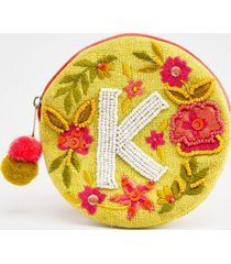 k round initial coin pouch - yellow