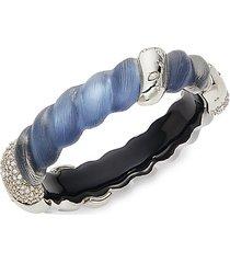 white rhodium-plated lucite twist cuff bracelet