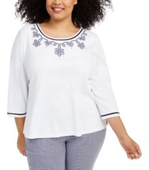 alfred dunner plus size easy street gingham trim beaded top