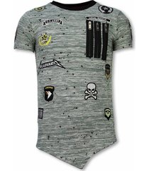 t-shirt korte mouw local fanatic longfit asymmetric embroidery - t-shirt patches - us army -