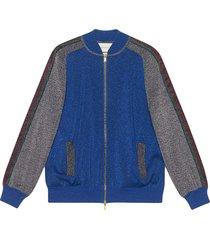 gucci lurex track jacket - blue