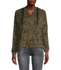for the republic women's camo-print cotton-blend hoodie jacket - olive camo - size m