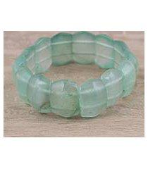 aventurine beaded stretch bracelet, 'green whisper' (india)