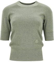 kenzo melange sweater tiger crest patch