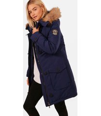 faux fur trim hooded padded jacket, navy
